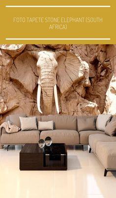 """Fototapete """"Stone Elephant""""  ✥  Ein atemberaubender Effekt im Ihren Wohnzimmer!  ✥  Elefant, afrikanische Motive, 3D Optik  ✥ #manualidades creativas fotos"""