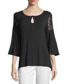 Lace+Cold-Shoulder+Flutter-Sleeve+Tee,+Black+by+Neiman+Marcus+at+Neiman+Marcus+Last+Call.
