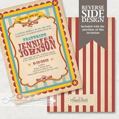 Circus Baby Shower Invitation Carnival by LemonadeMoments on Etsy, $20.00
