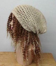 Natural cream hemp wool beanie dreadlock by PurpleSageDesignz