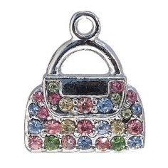 12x DIY Jewelry Making: Multicolored Rhinestone Purse Pendant Charm Piece