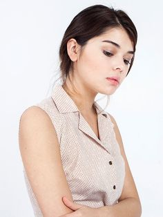 SALE Cream blouse - sleeveless blouse - cotton blouse - button down shirt - womens blouses - sleeveless shirt - sleeveless top