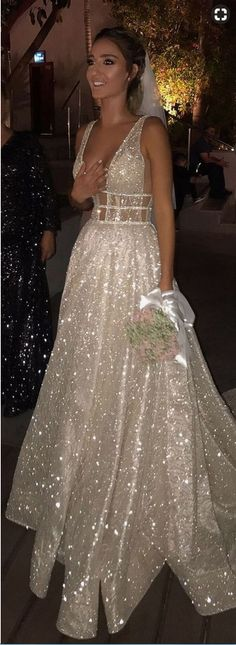 Shiny Deep V-Neck Bridal Dress with Sequin,Luxury Court