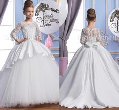 2016 Pearls Lace Long Sleeves Tulle Arabic Flower Girl Dresses Vintage Child Pageant Dresses Beautiful Flower Girl Wedding Dresses F29 Formal Dresses Party Dresses From Weddingmall, $68.17| Dhgate.Com