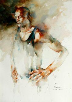 Watercolor Sketch, Watercolor Artists, Watercolor Portraits, Abstract Watercolor, Watercolor Illustration, Watercolor Paintings, Watercolours, Potrait Painting, Portrait Art