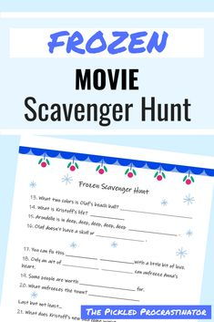 Frozen movie scavenger hunt!  Free printable scavenger hunt for kiddos to complete while they enjoy watching Frozen.