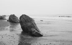 Rocks at low tide, Hendry's Beach, Santa Barbara. Black and white, by Alexandra Williams