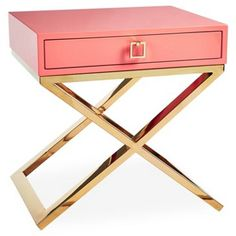 Check out this item at One Kings Lane! Boca Nightstand, Coral/Gold