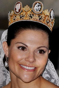 Cameo Tiara worn by HRH Victoria, the Crown Princess of Sweden on her wedding day