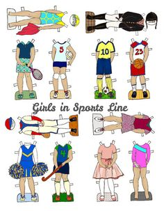 Girls In Sports Paper Doll Outfits - PDF - Instant Download