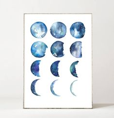 Moon Phases, Archival Watercolor Print  The item listed is for an archival print of my original moon phase watercolor painting. The organic shapes and soft shades of blue can provide a sense of serenity in your space. Process// Designs are all hand painted with watercolor then