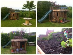 Here is the hut for the kids I made from around 20 pallets. I added a slide and a green roof! Voici une cabane réalisée avec un vingtaine de palette, elle
