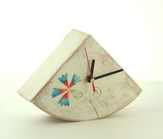 Table Folk art clock Desk clock Wood Clock Folk Flower Art
