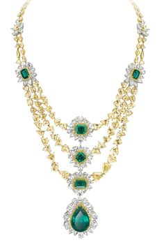 Avakian. Yellow diamond and emerald necklace.