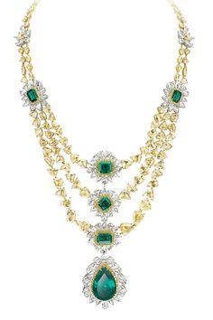 Avakian. Yellow diamond and emerald necklace.