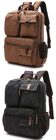 55c4d12f721f Leisure Multi-pocketed Outdoor Travel Backpack Brown Large School Canvas  Laptop Backpack