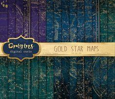 Gold Star Maps Digital Paper by Origins Digital Curio on @creativemarket
