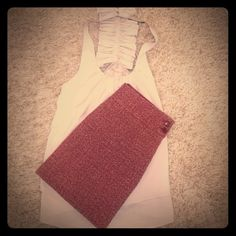 """Skirt and Top outfit Adorable red and cream colored wool blend J. Crew skirt with 2 button side closure. 14 1/2"""" length. Naked Zebra top included, size medium. Pairs great with this skirt J. Crew Skirts"""
