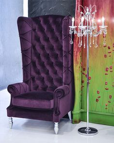 Vintage Channel Chair with Purple and Charcoal Velvet by Element20 ...