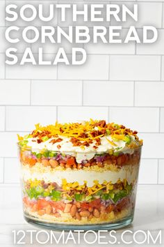 Creamy and full of crunch. Southern Cornbread Salad, Cornbread Salad Recipes, Stuffing Recipes, Great Recipes, Favorite Recipes, Trifle Dish, Good Food, Yummy Food, The Ranch