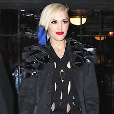 Gwen Stefani with blue ombre hair + a red lip