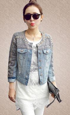 50 Diverse Ideas of Denim Jackets Decor Denim Fashion, Fashion Outfits, Womens Fashion, Fashion Art, Jeans Trend, Kleidung Design, Diy Vetement, Mode Jeans, Denim Ideas