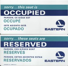 Eastern Airlines Reserved / Occupied Seat Card REV 5/65  Very Good Used Condition