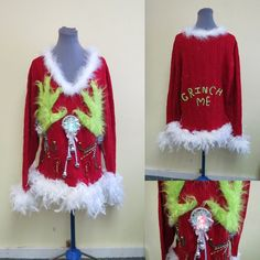 Ugly Christmas Sweaters - Ugly Christmas Sweater - Tacky Ugly Christmas Sweater, Light up, Sweater Light UP Sweater Fuzzy Furry Lime Green Funny, Foo Foo Feathers, Sexy Sweater Reindeer Sweater, Ugly Christmas Sweater Women, Funny Christmas Sweaters, Tacky Christmas, Christmas Snow Globes, Christmas Outfits, Christmas Ideas, Christmas Decorations, Xmas Jumpers
