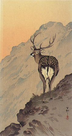 Ohara Koson (小原 古邨, 1877-1945) Deer on Snowy Peak