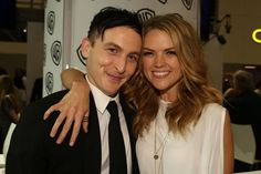 GOTHAM stars Robin Lord Taylor and Erin Richards at the Warner Bros. booth at Comic-Con 2014. #WBSDCC