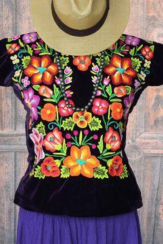 Hand Embroidered Tehuana Mexico Dark Purple Velvet Huipil Santa Fe Style Frida  #Handmade #Huipiltunic