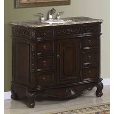 Madison Antique Brown Cherry Bathroom Vanity Chest