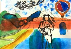 Improv painting Woman bat and railway bridge