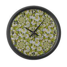 White Daisy Spiral Pattern Large Wall Clock > White Daisy Spirals Repeat PatternNew Section > Rosemariesw Digital Designs