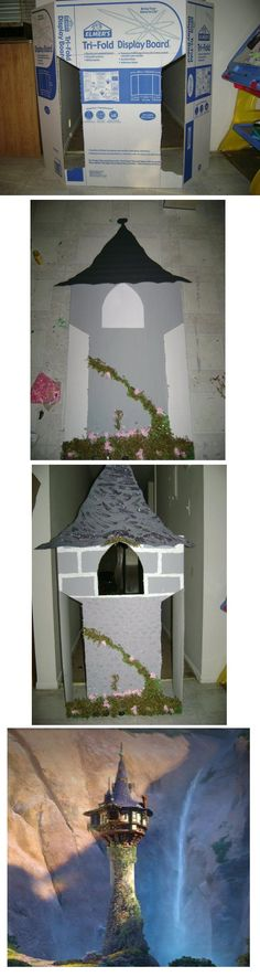 Rapunzel's Tangled Tower: Make cuts on trifold board, paint gray, embellish, add the roof, Rapunzel tower! Kiddos at Grace's birthday party liked sticking their faces through Rapunzel's window :-P