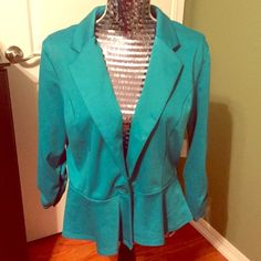 NWT Blazer Beautiful brand new with tags turquoise blazer from Charlotte Russe. Both side of both sleeves have the stitching in the third picture. Please feel free to make an offer! All offers are considered! If the offer happens to be below my lowest price, I will counter at the lowest!  Charlotte Russe Jackets & Coats Blazers
