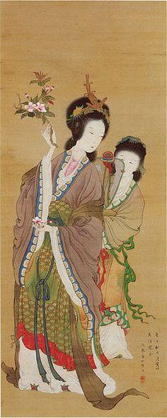 Japan, hanging scroll by Takaku Aigai, depicting the Chinese beauty Yang Guifei, 1821
