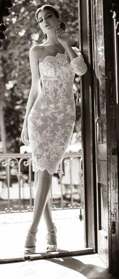 elegant little strapless ivory lace bridal dress