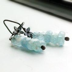 Aquamarine Earrings Oxidized Sterling Silver by jewelrybycarmal, $25.00