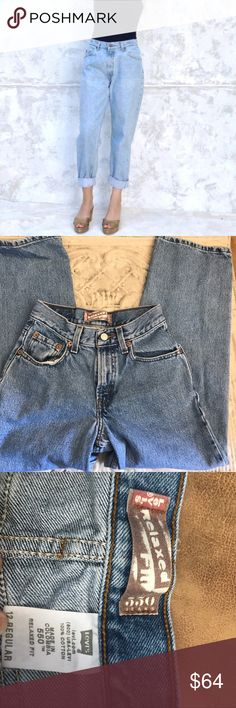 """Levi's 550 Mom jeans size 12 vintage sizing Levi's 550 mom jeans. Jeans are in excellent worn condition. Color is a faded blue denim.Please note that they are vintage size 12. The waist is 26"""". Please check pictures for measurements of inseam and rise. Thanks so much for visiting my closet! Levi's Jeans Ankle & Cropped"""