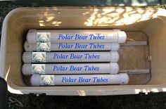 """Polar Bear Tubes"" - custom fit PVC tubes filled with water. When you freeze them and put them in your cooler they provide the perfect fit for your cooler!"