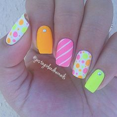 Pretty Neon Nail Art Designs for Your Inspiration Nail Art Designs 2016, Neon Nail Designs, Nails Design, Bright Summer Nails, Cute Summer Nails, Neon Nail Art, Neon Nails, Art Nails, Acrylic Nails
