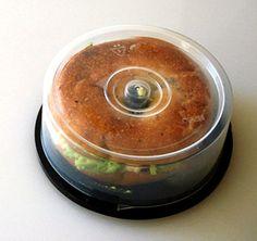 Empty CD spindle? Nope, bagel sandwich carrier! genius