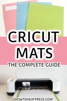 Cricut Cutting Mat Guide – Cricut Mats Tips & Tricks For Success A Cricut cutting mat guide with tips & tricks! Cricut mat sizes and the 4 tack levels: light, standard, fabric, & strong grip mats. Cricut Heat Transfer Vinyl, Iron On Cricut, Cricut Iron On Vinyl, Cricut Mat, How To Use Cricut, Cricut Help, Cricut Explore Projects, Vinyl Projects, Cricut Tutorials