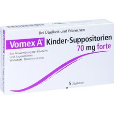 VOMEX A Kinder-Suppositorien 70 mg forte:     Packungsinhalt: 5 St Suppositorien PZN: 11091649 Hersteller: Klinge Pharma GmbH Preis: 2,30…