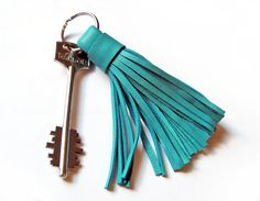 Leather Tassel Keychain Turquoise color by erikasleather on Etsy