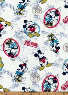 Vintage Mickey & Minnie Fabric- 1928 Mickey - Springs Creative- 100% Cotton Fabric by QuiltsOnTheFly on Etsy