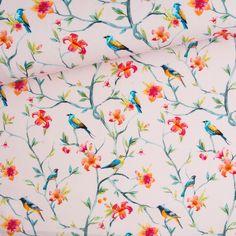 Cotton fabric - Birds 2 - All / Digitally printed cotton fabric / Cotton fabric Fabric Birds, Birds 2, Printed Cotton, Cotton Fabric, Map, Sewing, Prints, Decor, Dressmaking