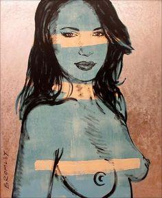 """DAVID BROMLEY Nude """"Helena"""" Polymer & Silver Leaf on Canvas 150cm x 120cm"""