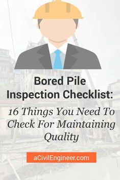 Having a bored-pile inspection checklist with you will ensure the quality of your construction. Make your own checklist using these points. Concrete Cover, Poured Concrete, Construction Sector, Construction Process, Concrete Slump Test, Structural Drawing, Soil Layers, Concrete Blocks, Civil Engineering